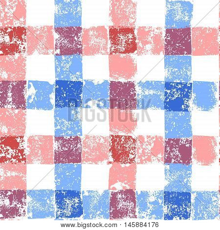 Blue and pink pastel colored checkered grunge gingham seamless pattern, vector background