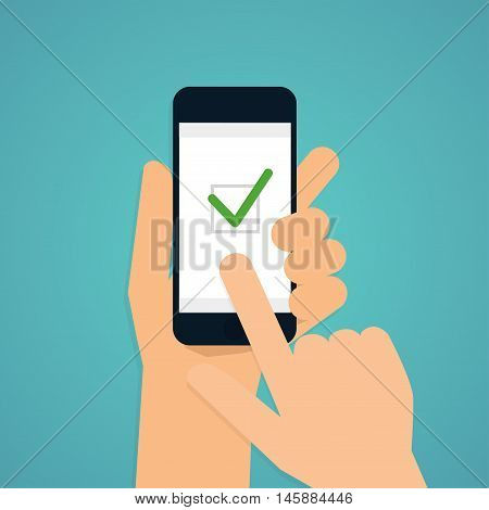 Hand Holding Mobile Smart Phone With Check App. Vector Modern Flat Creative Info Graphics Design.