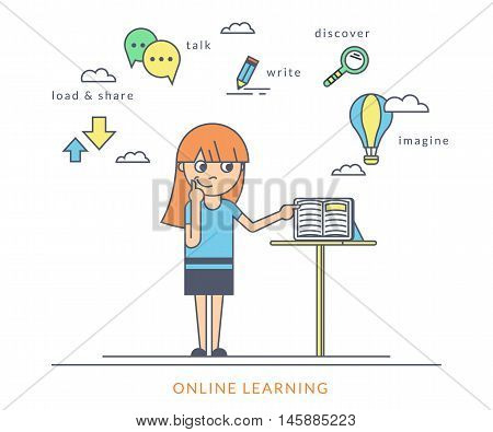Young redhair girl using a tablet pc and reading ebook on the screen. Flat outlined contour illustration of online reading book and learning with symbol such as talk and share, read and imagine