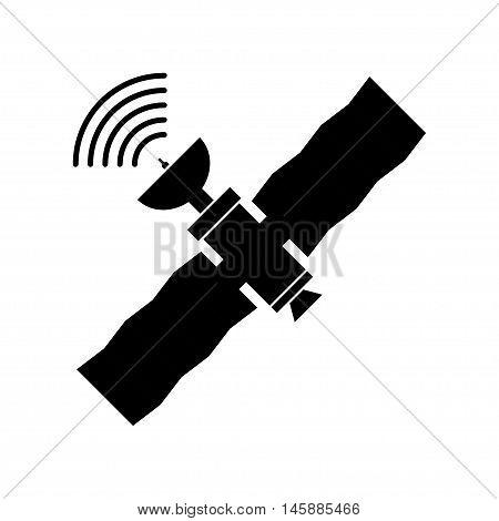 GPS satellite flat style illustration. Wireless satellite technology. World global net.