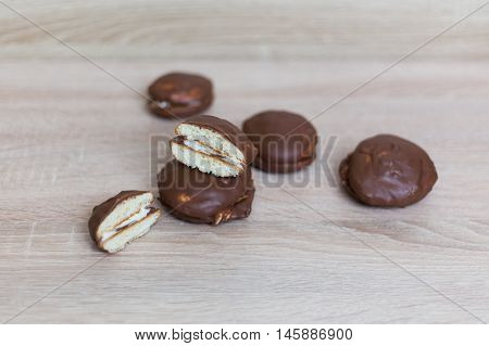 homemade cookies in chocolate Choco pie soft background light