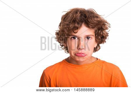 Isolated picture of emotional and sad young man