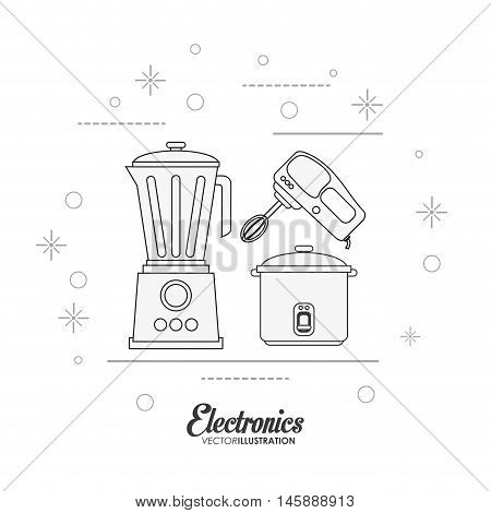 blender mixer and cooker icon. electronic appliances and supplies for your home theme. Black and white design. Vector illustration