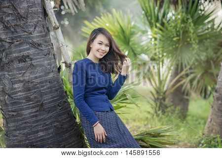Thai Farmer Woman Wearing Typical Thai Dress, On Rice Fields Background, Identity Culture Of Thailan