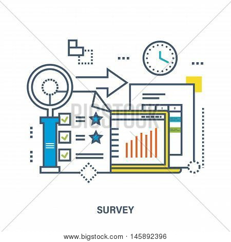 Concept of survey. Color Line icons. Flat Vector illustration