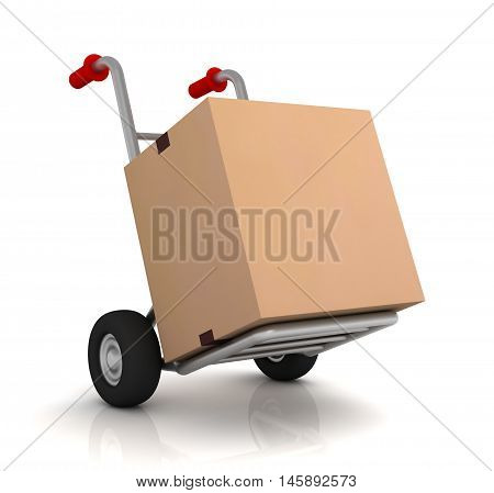 cardboard box and hand truck 3d illustration isolated on white background