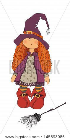 Halloween illustration. Beautiful red hair witch with broom.Witch doll. vector. Pretty witch with a broom for Halloween