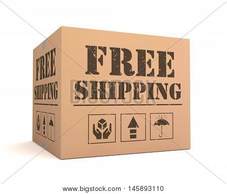 free shipping 3d illustration isolated on white background