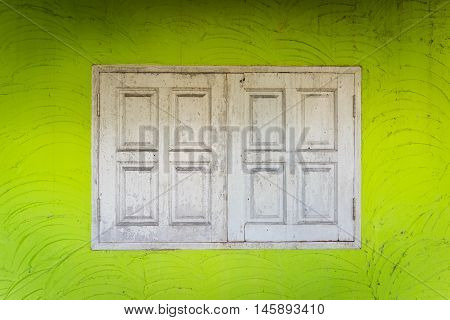 old wooden windows in an old building