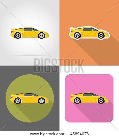 sport car flat icons vector illustration isolated on background