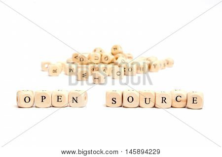 word with dice on white background - open source