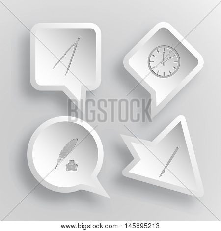 4 images: caliper, clock, feather and ink bottle, ruling pen. Education set. Paper stickers. Vector illustration icons.