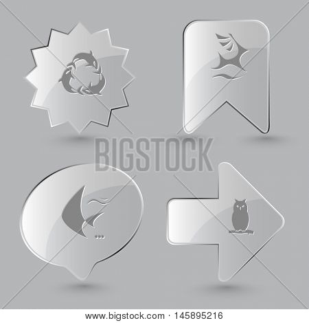 4 images: killer whale as recycling symbol, deer, fish, owl. Animal set. Glass buttons on gray background. Vector icons.
