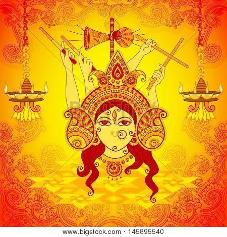 Vector design of Goddess Durga for Dussehra in Indian art style