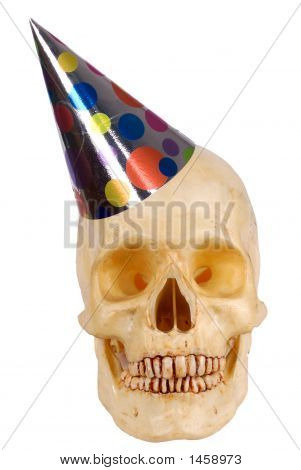 Human Skull With Party Hat