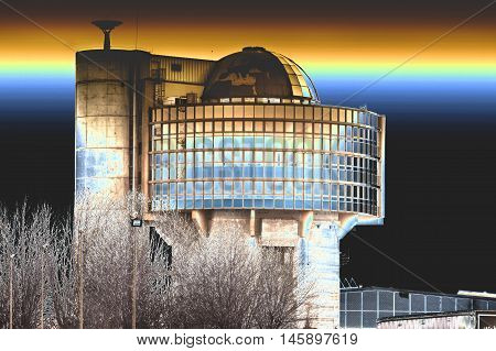 Age air raid shelter with modern architectural building dome. Shot with solarization effect.