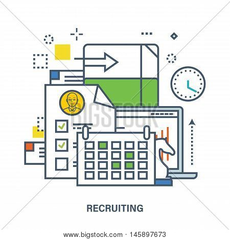 Concept of recruitment in work. Color Line icons. Flat Vector illustration. Can be used for banner, business data, web design, brochure template.