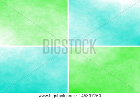 White background with green and cyan rectangles