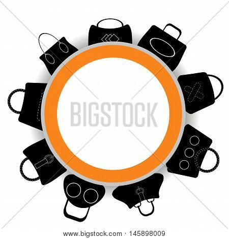 Round Banner. Collection of Womens Handbags on White Background