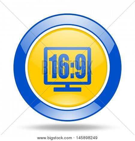 16 9 display round glossy blue and yellow web icon
