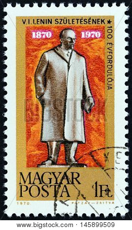 HUNGARY - CIRCA 1970: A stamp printed in Hungary issued for the Birth Centenary of Lenin shows Lenin Statue, Budapest, circa 1970.
