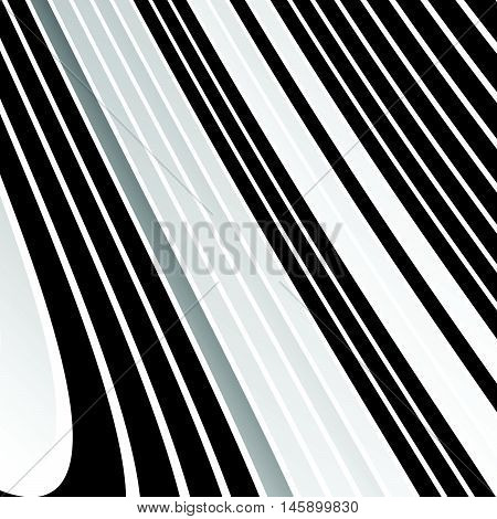 Distorted, Warped Lines Geometric Monochrome Pattern. Black And White Distorted Shapes