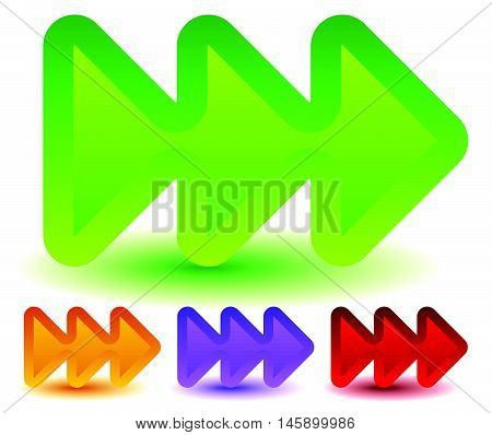 Triple, 3 Arrows In More Colors. Locate, Fast Forward, Fastness Concepts. Colorful Arrow Shapes, Arr