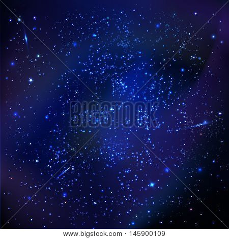 vector illustration. Abstract cosmos space background galaxy with stars meteorite flare nebula