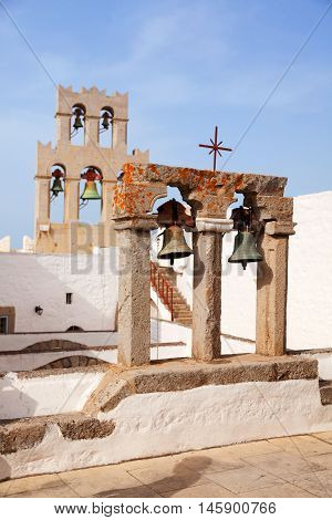 Church and bells on Patmos island Greece