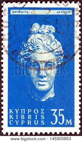 CYPRUS - CIRCA 1962: A stamp printed in Cyprus shows head of goddess Aphrodite, circa 1962.