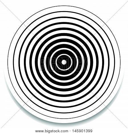 Concentric circles rings abstract geometric element. Ripple impact effect poster