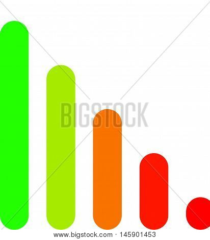 Bar chart / bar graph symbol. Rounded rectangle chart poster