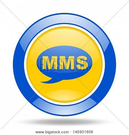 mms round glossy blue and yellow web icon