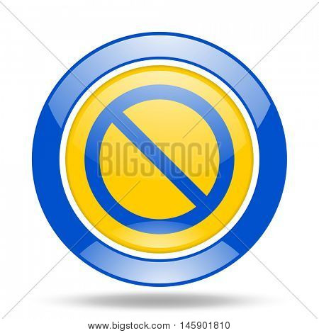 access denied round glossy blue and yellow web icon