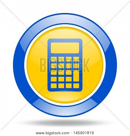 calculator round glossy blue and yellow web icon