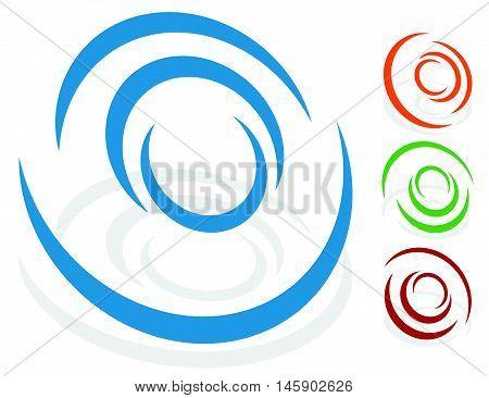 Circular Design Element, Logo Shape (4 Different Version With 4 Colors. Transparent Shadows.)
