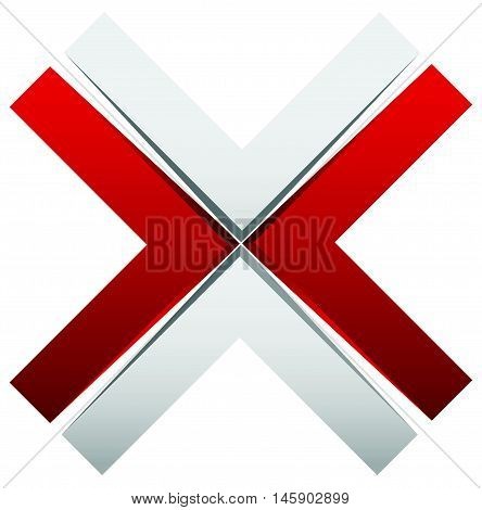 Bright cross X sign icon - Generic 3d design element poster