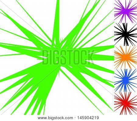 Abstract Edgy, Geometric Radiating Lines. Set Of 6 Versions With 6 Colors