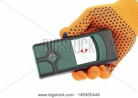 Laser measuring the level in hand with glove isolated on white background.