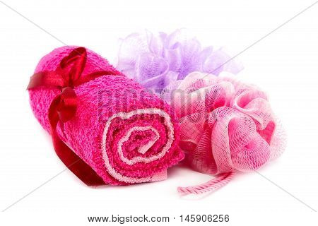Towels and washcloths isolated on white background. Spa Setting