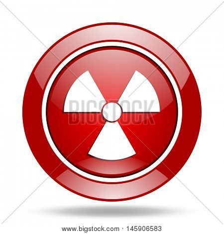 radiation round glossy red web icon