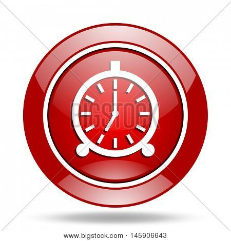 alarm round glossy red web icon
