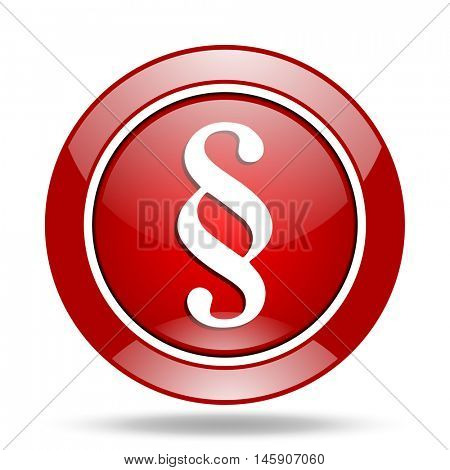 paragraph round glossy red web icon