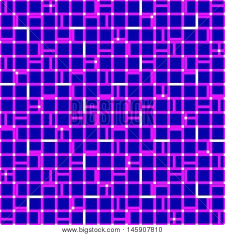 Irregular Grid Mesh With Squares. Seamlessly Repeatable Duotone Geometric Pattern.