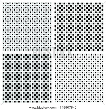 Set of 4 grayscale regular pattern with squares and circles poster