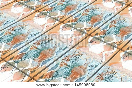 Barbadian dollar bills stacks background. 3D illustration.