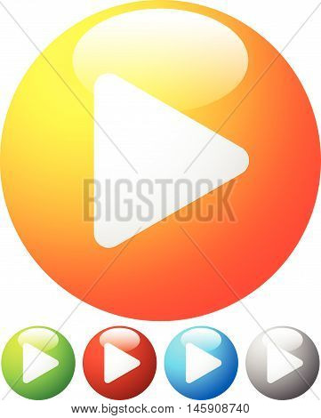 Glossy Orb Play Buttons, Play Icons. Illustration For Multimedia, Playback Element.