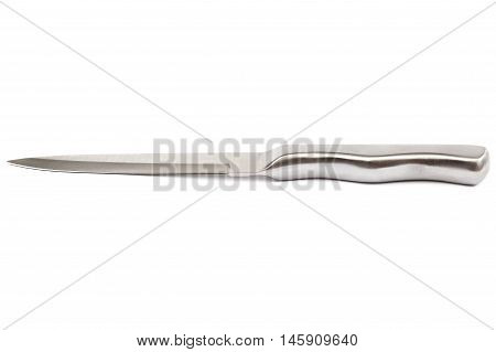 Metal knife isolated on a white background.