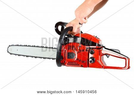 Chainsaw in hand isolated on white background.