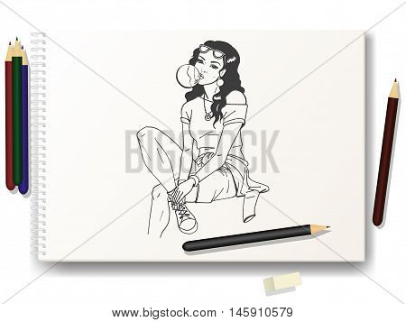 Vector illustration of a beautiful girl a hand-drawn pencil on the album A4. The concept of learning to draw the characters. Drawing lessons.